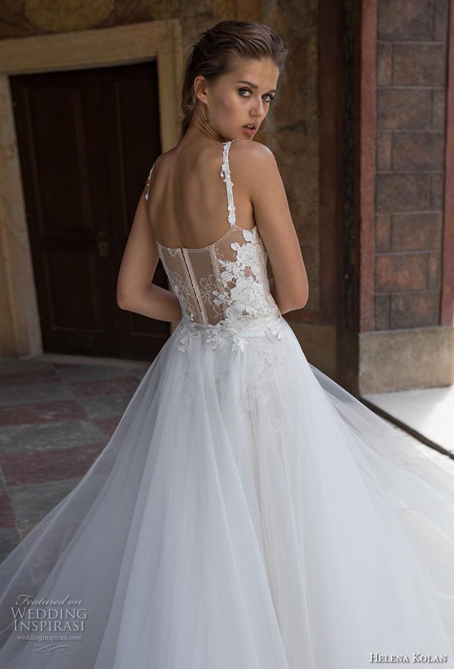 helena kolan 2019 bridal sleeveless thin strap sweetheart neckline full embellishment romantic princess fit and flare wedding dress a  line overskirt sweep train (11) zbv