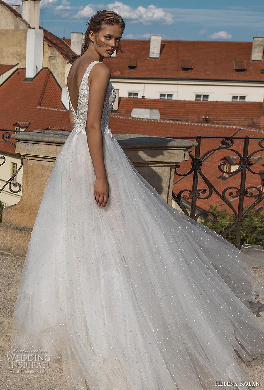 helena kolan 2019 bridal sleeveless v neck heavily embellished bodice romantic soft a  line wedding dress backless v back sweep train (6) bv
