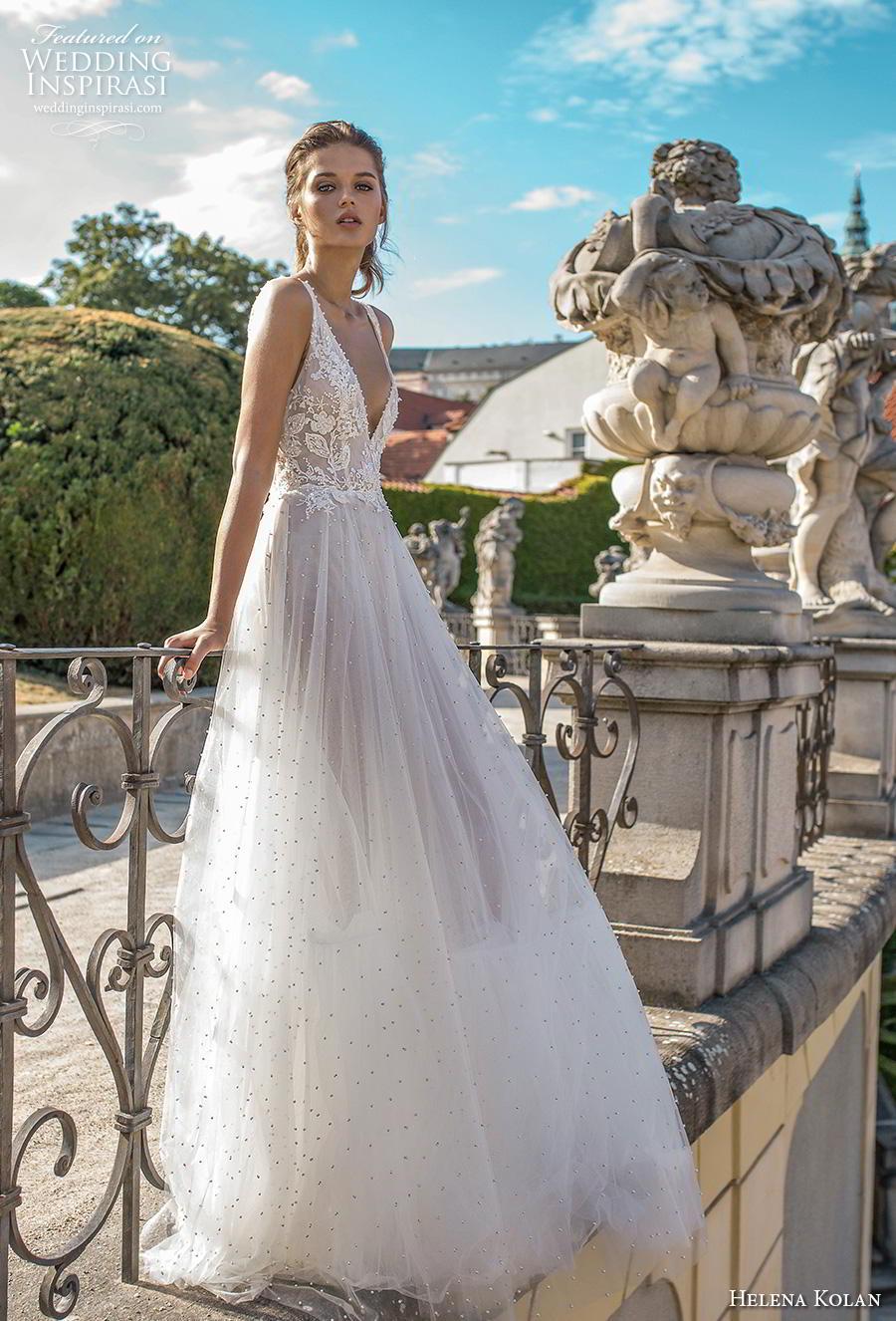 helena kolan 2019 bridal sleeveless v neck heavily embellished bodice romantic soft a  line wedding dress backless v back sweep train (6) mv
