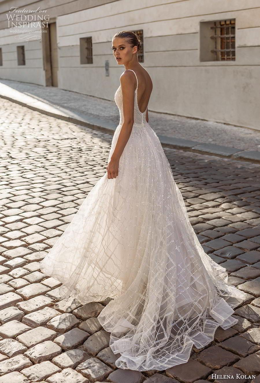 helena kolan 2019 bridal spaghetti strap scoop neckline full embellishment romantic a  line wedding dress backless scoop back short train (13) bv