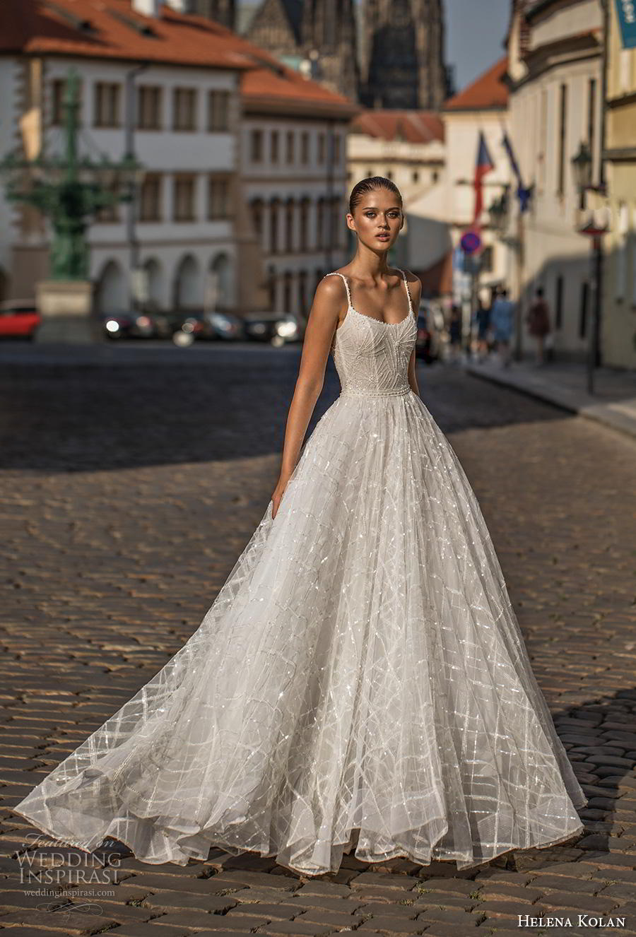 helena kolan 2019 bridal spaghetti strap scoop neckline full embellishment romantic a  line wedding dress backless scoop back short train (13) mv