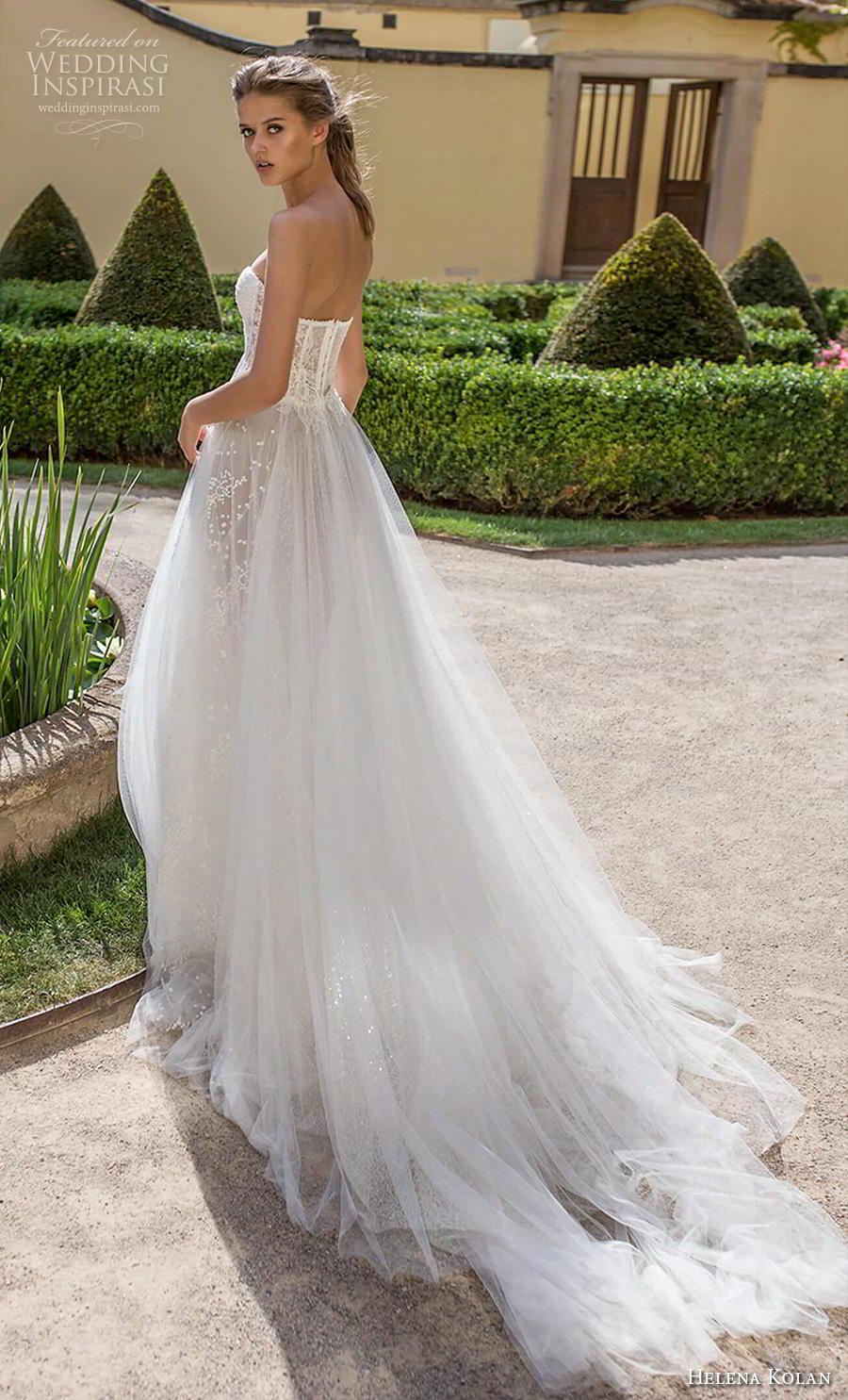 helena kolan 2019 bridal strapless sweetheart neckline full embellishment bustier romantic soft a  line wedding dress mid back chapel train (1) bv