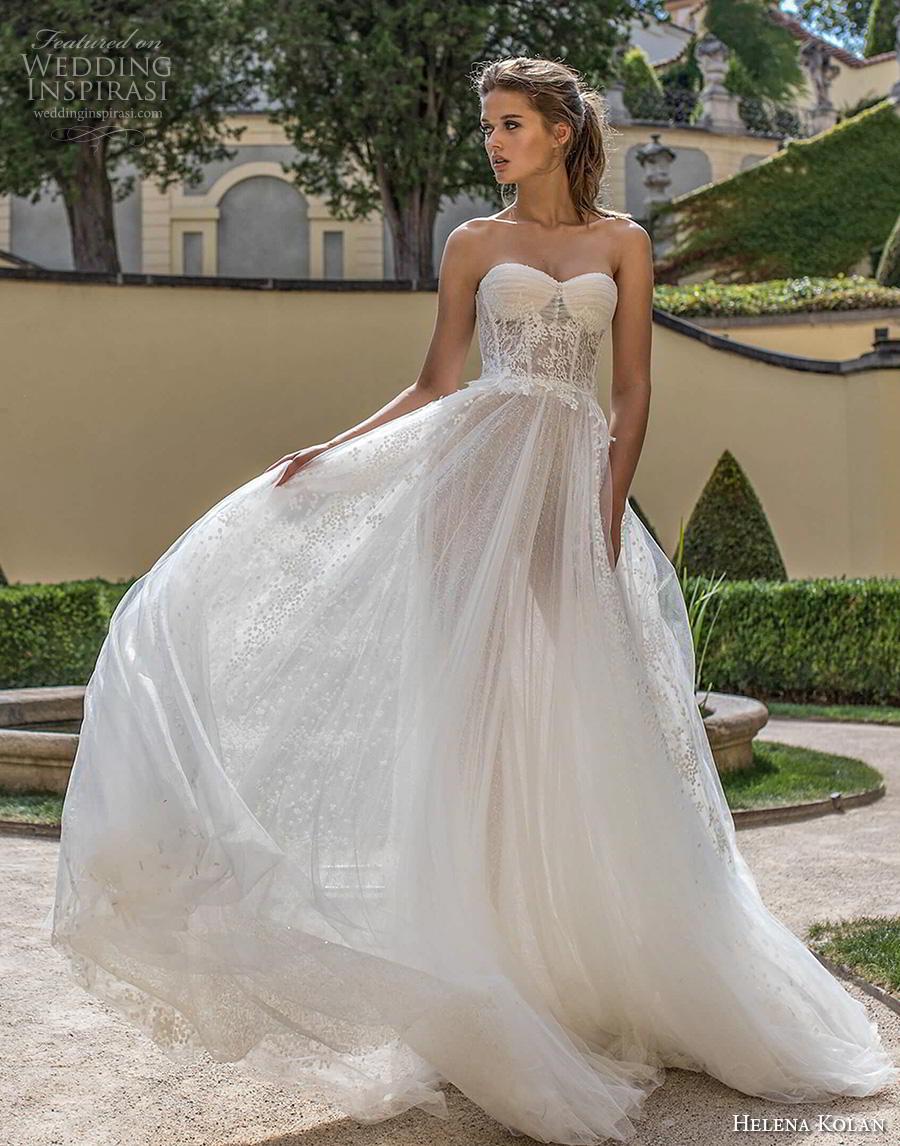 helena kolan 2019 bridal strapless sweetheart neckline full embellishment bustier romantic soft a  line wedding dress mid back chapel train (1) mv