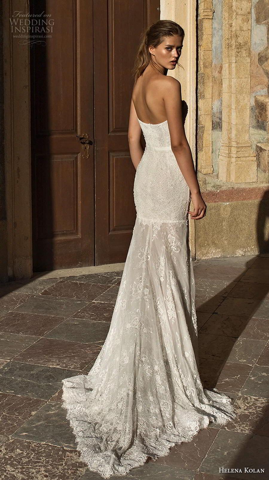 helena kolan 2019 bridal strapless sweetheart neckline full embellishment slit skirt elegant trumpet fit and flare wedding dress sweep train (3) bv