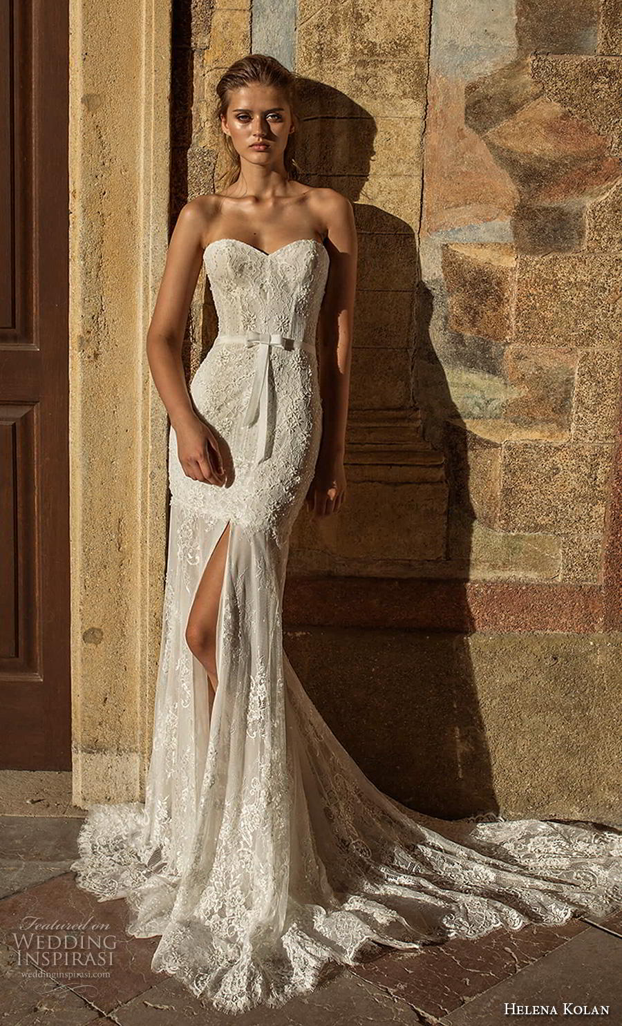 helena kolan 2019 bridal strapless sweetheart neckline full embellishment slit skirt elegant trumpet fit and flare wedding dress sweep train (3) mv