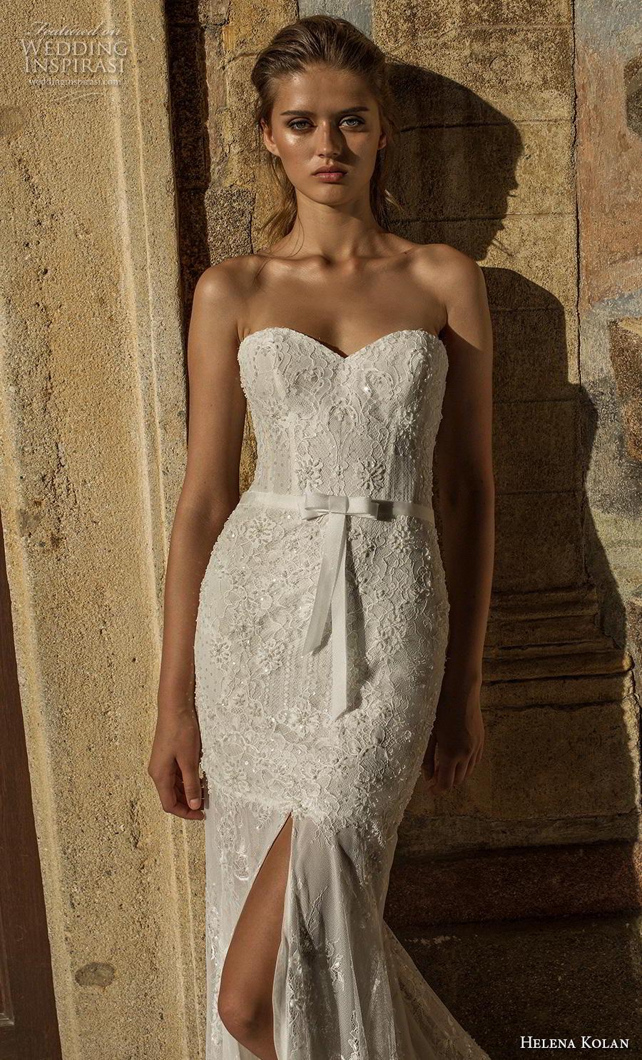 helena kolan 2019 bridal strapless sweetheart neckline full embellishment slit skirt elegant trumpet fit and flare wedding dress sweep train (3) zv