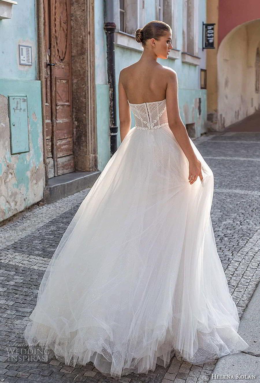 helena kolan 2019 bridal strapless sweetheart neckline heavily embellished bodice tulle skirt romantic ball gown a  line wedding dress sweep train (10) bv