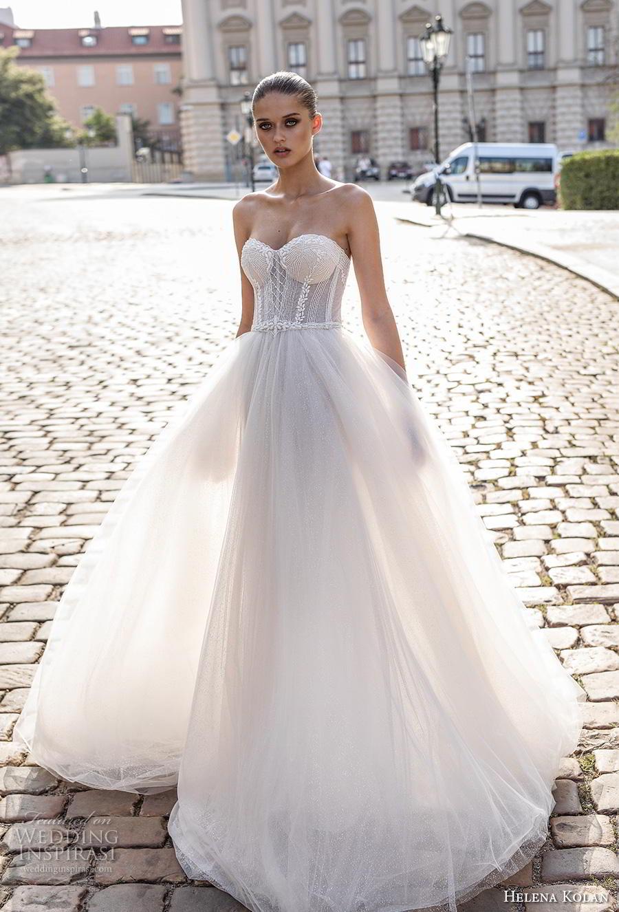 helena kolan 2019 bridal strapless sweetheart neckline heavily embellished bodice tulle skirt romantic ball gown a  line wedding dress sweep train (10) mv