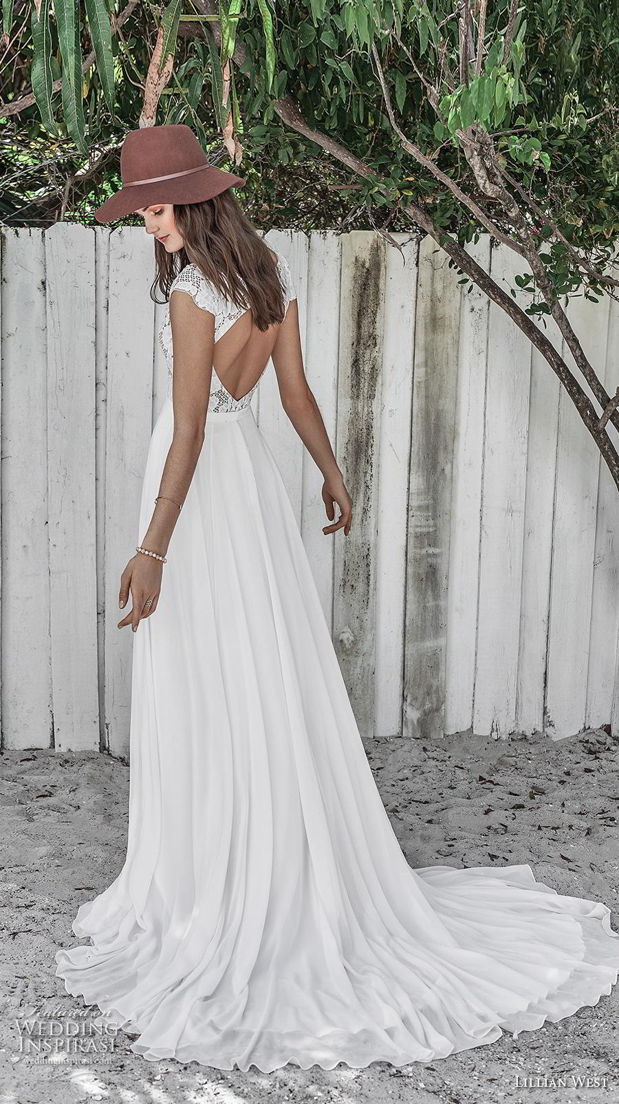 lillian west spring 2019 bridal cap sleeves bateau neckline heavily embellished bodice romantic modest a  line wedding dress keyhole back chapel train (15) bv