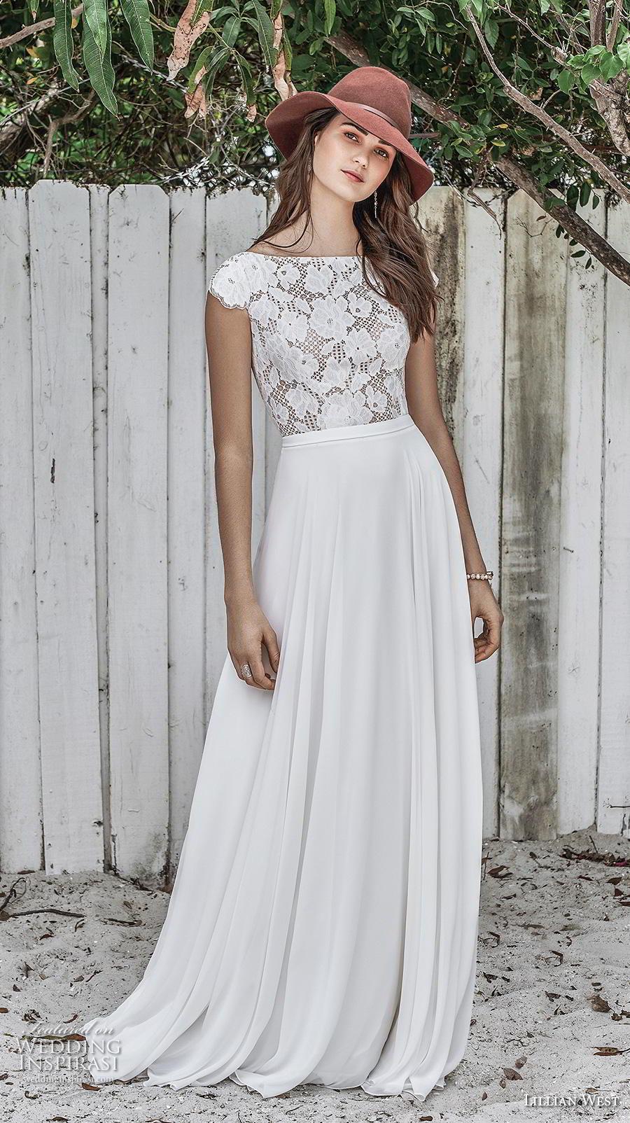 lillian west spring 2019 bridal cap sleeves bateau neckline heavily embellished bodice romantic modest a  line wedding dress keyhole back chapel train (15) mv