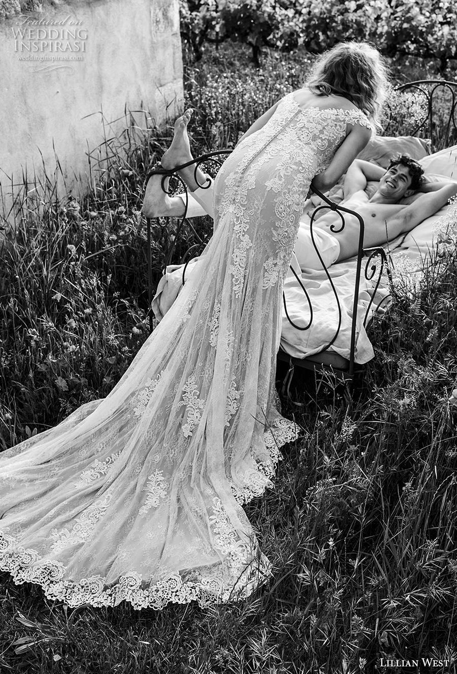 lillian west spring 2019 bridal cap sleeves v neck heavily embellished bodice elegant classic fit and flare wedding dress v back chapel train (17) bv