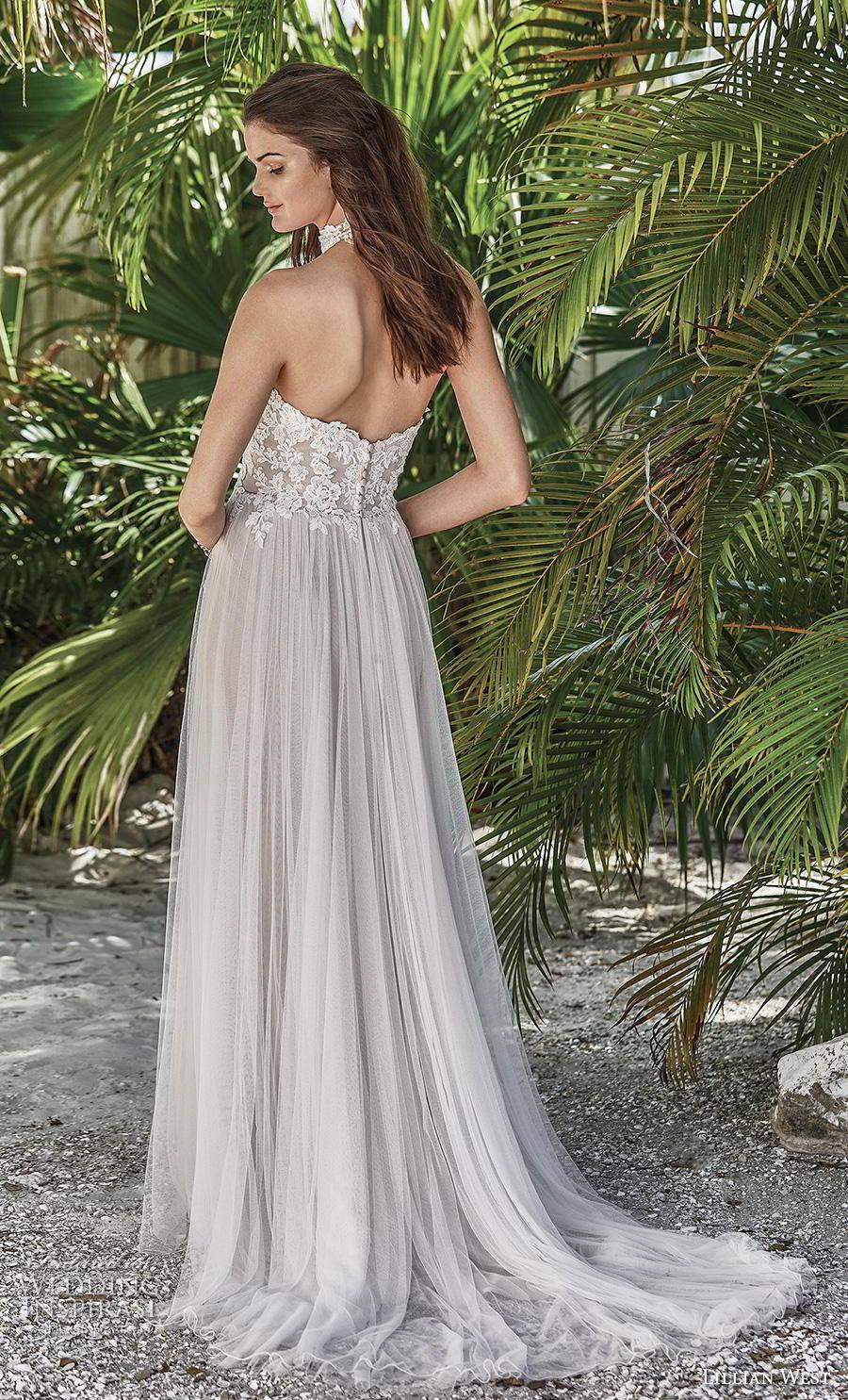 lillian west spring 2019 bridal halter neck heavily embellished bodice tulle skirt soft a  line wedding dress mid back short train (10) bv
