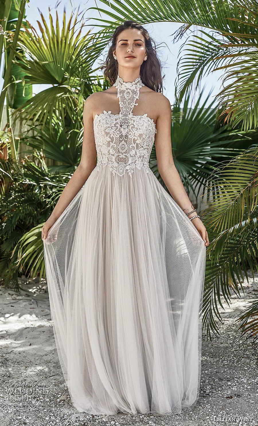 lillian west spring 2019 bridal halter neck heavily embellished bodice tulle skirt soft a  line wedding dress mid back short train (10) mv