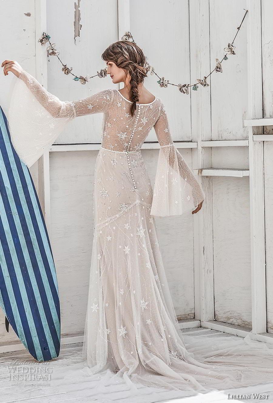 lillian west spring 2019 bridal long bell sleeves deep v neck full embellishment boho romantic modified a  line wedding dress sheer back chapel train (8) bv