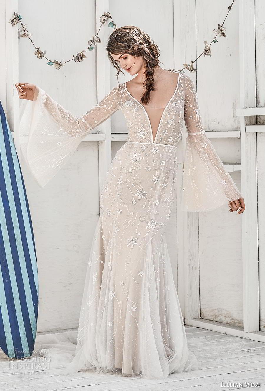 lillian west spring 2019 bridal long bell sleeves deep v neck full embellishment boho romantic modified a  line wedding dress sheer back chapel train (8) mv