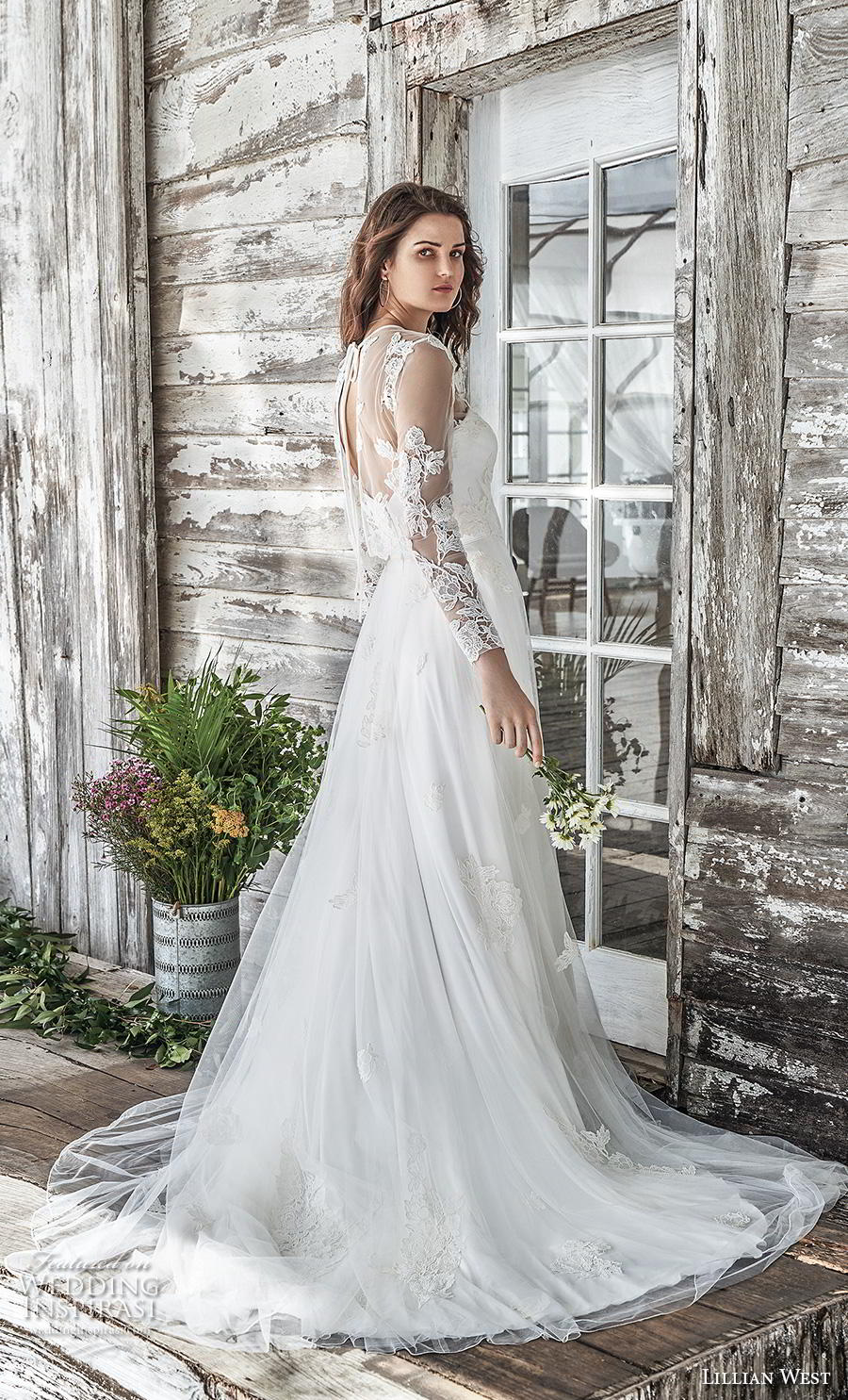 lillian west spring 2019 bridal long seeves illusion jewel sweetheart neckline heavily embellished bodice romantic a  line wedding dress sheer lace back chapel train (9) bv