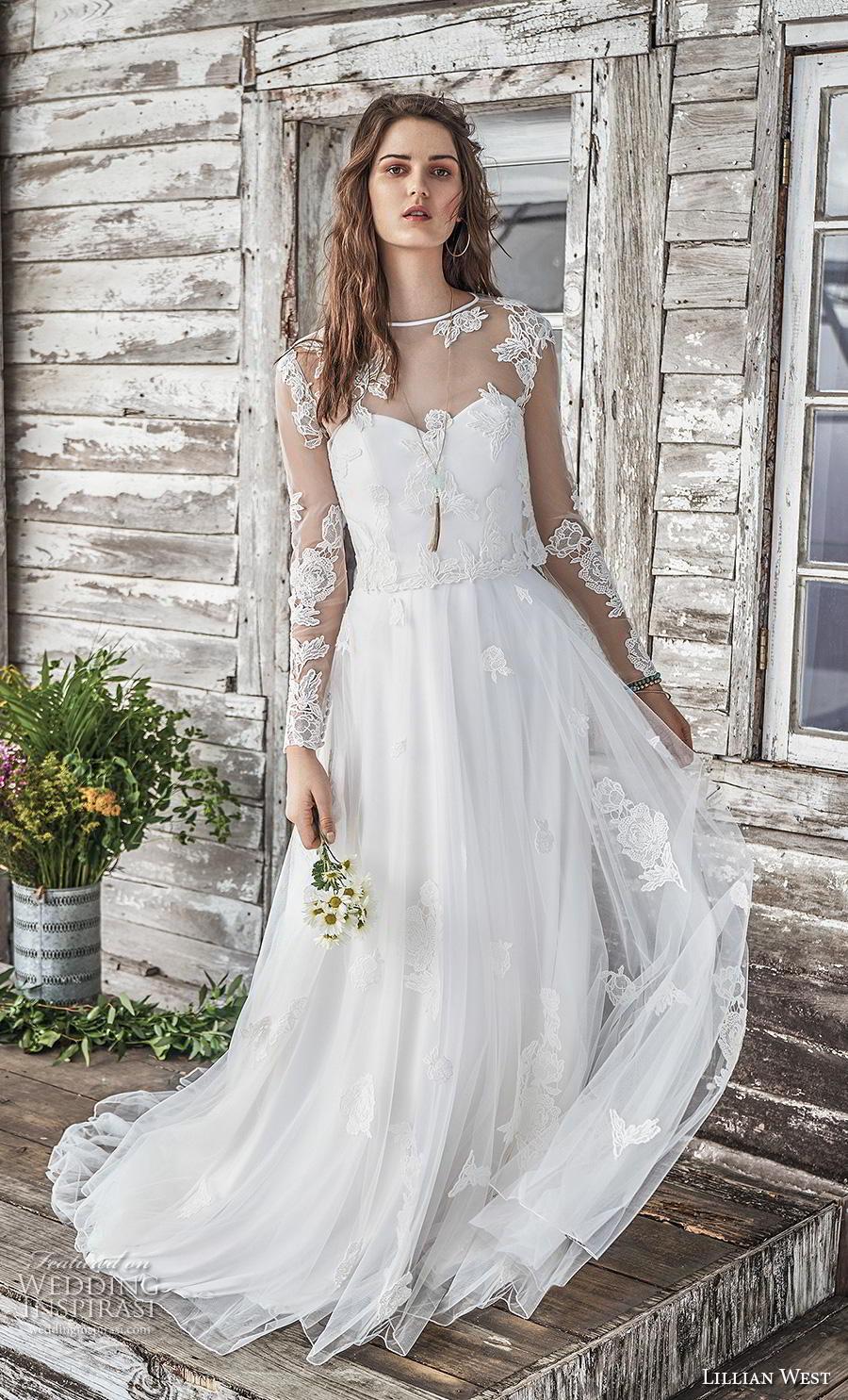 lillian west spring 2019 bridal long seeves illusion jewel sweetheart neckline heavily embellished bodice romantic a  line wedding dress sheer lace back chapel train (9) mv