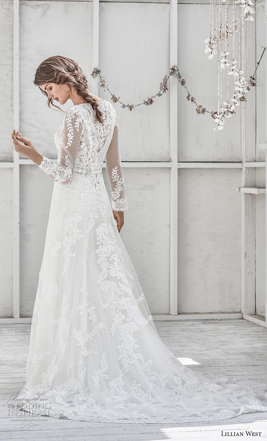lillian west spring 2019 bridal long sleeves jewel neck full embellishment elegant boho modest a  line wedding dress covered lace back chapel train (3) bv