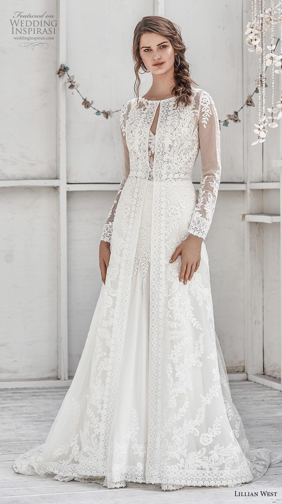 lillian west spring 2019 bridal long sleeves jewel neck full embellishment elegant boho modest a  line wedding dress covered lace back chapel train (3) mv
