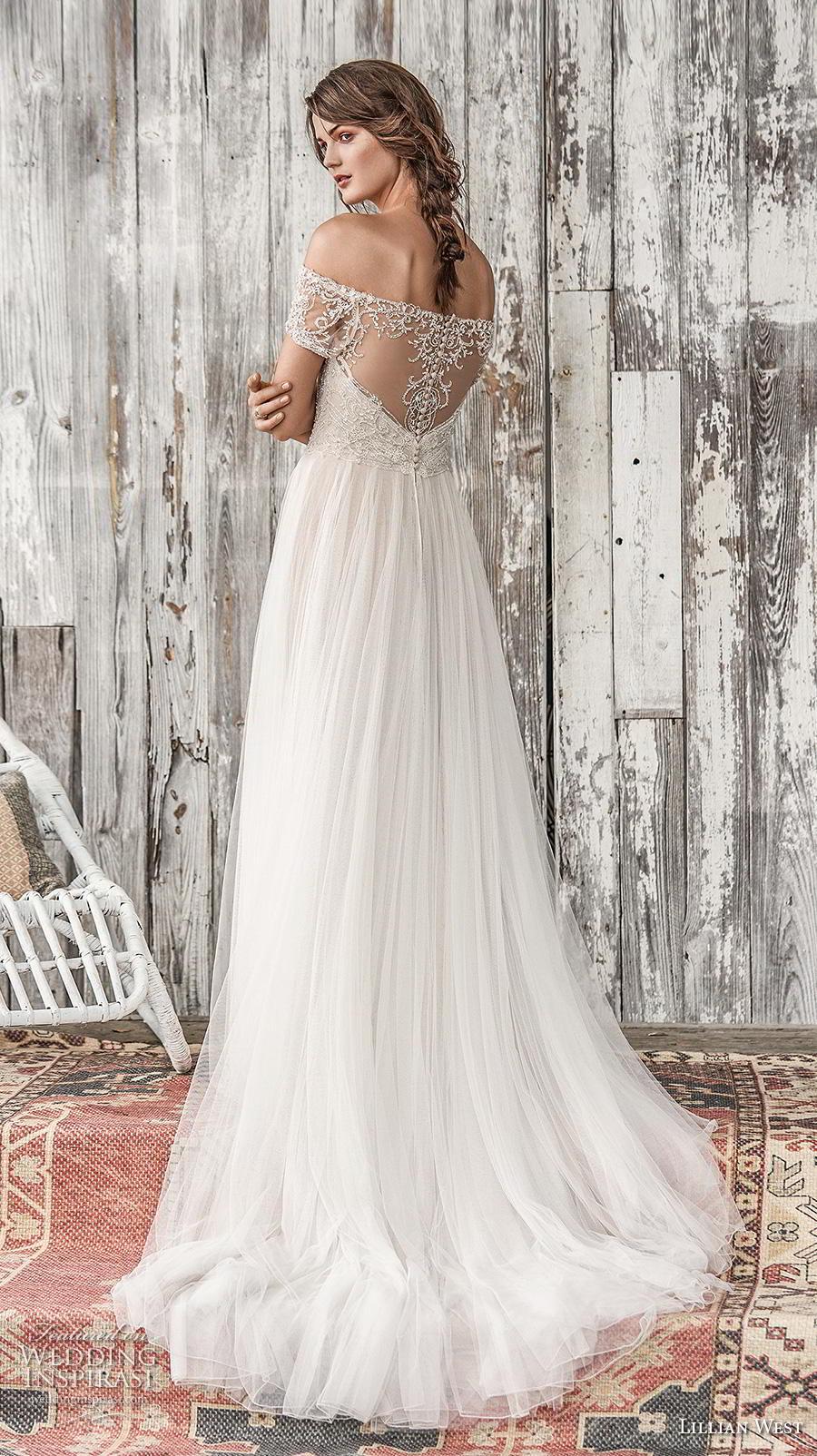 lillian west spring 2019 bridal off the shoulder illusion straight across sweetheart neckline heavily embellished bodice glitzy romantic a  line wedding dress chapel train (7) bv