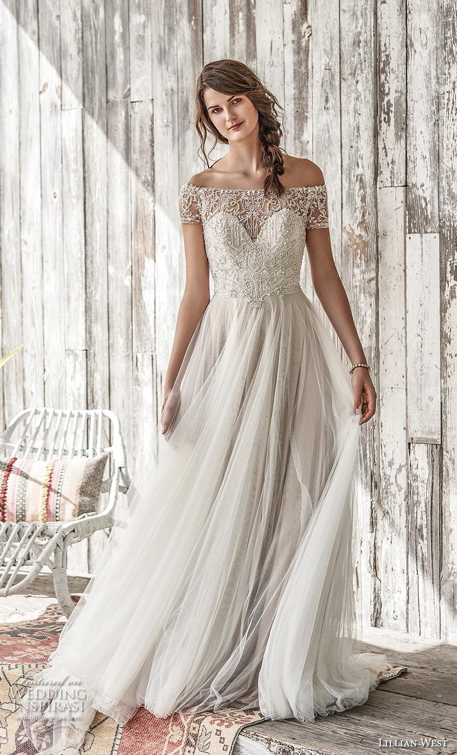 lillian west spring 2019 bridal off the shoulder illusion straight across sweetheart neckline heavily embellished bodice glitzy romantic a  line wedding dress chapel train (7) mv