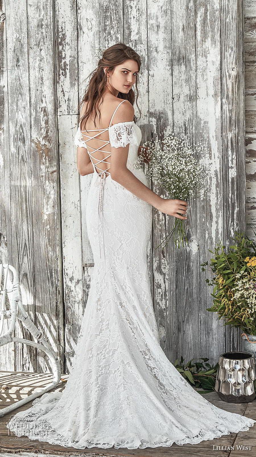 lillian west spring 2019 bridal short sleeves thin strap cold shoulder sweetheart neckline full embellishment elegant fit and flare wedding dress cross strap medium train (14) bv