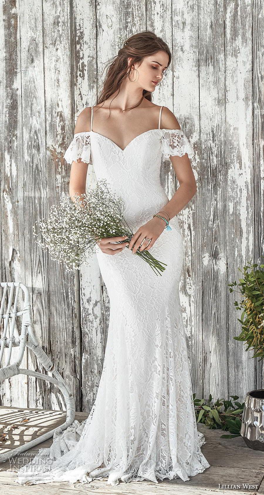lillian west spring 2019 bridal short sleeves thin strap cold shoulder sweetheart neckline full embellishment elegant fit and flare wedding dress cross strap medium train (14) mv