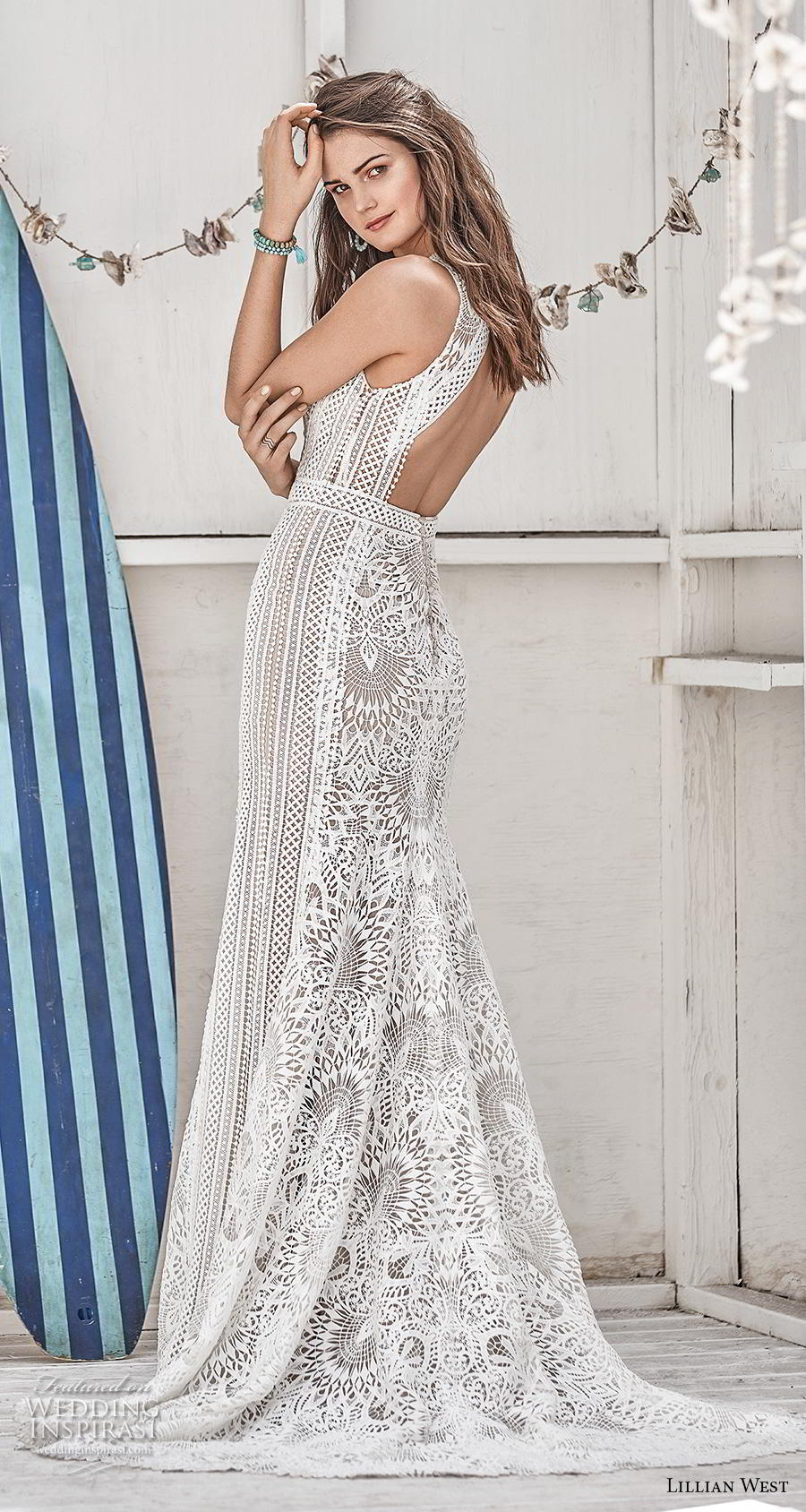 lillian west spring 2019 bridal sleeveless halter jewel neck full embellishment elegant fit and flare wedding dress keyhole back short train (6) bv