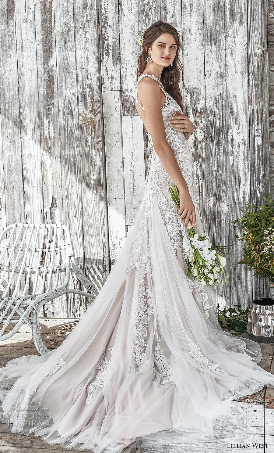 lillian west spring 2019 bridal sleeveless illusion halter sweetheart neckline full embellishment elegant blush modified a  line wedding dress backless chapel train (5) bv