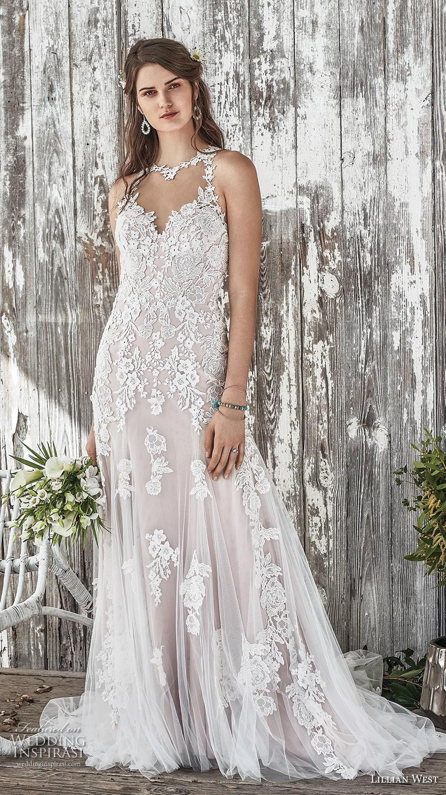 lillian west spring 2019 bridal sleeveless illusion halter sweetheart neckline full embellishment elegant blush modified a  line wedding dress backless chapel train (5) mv