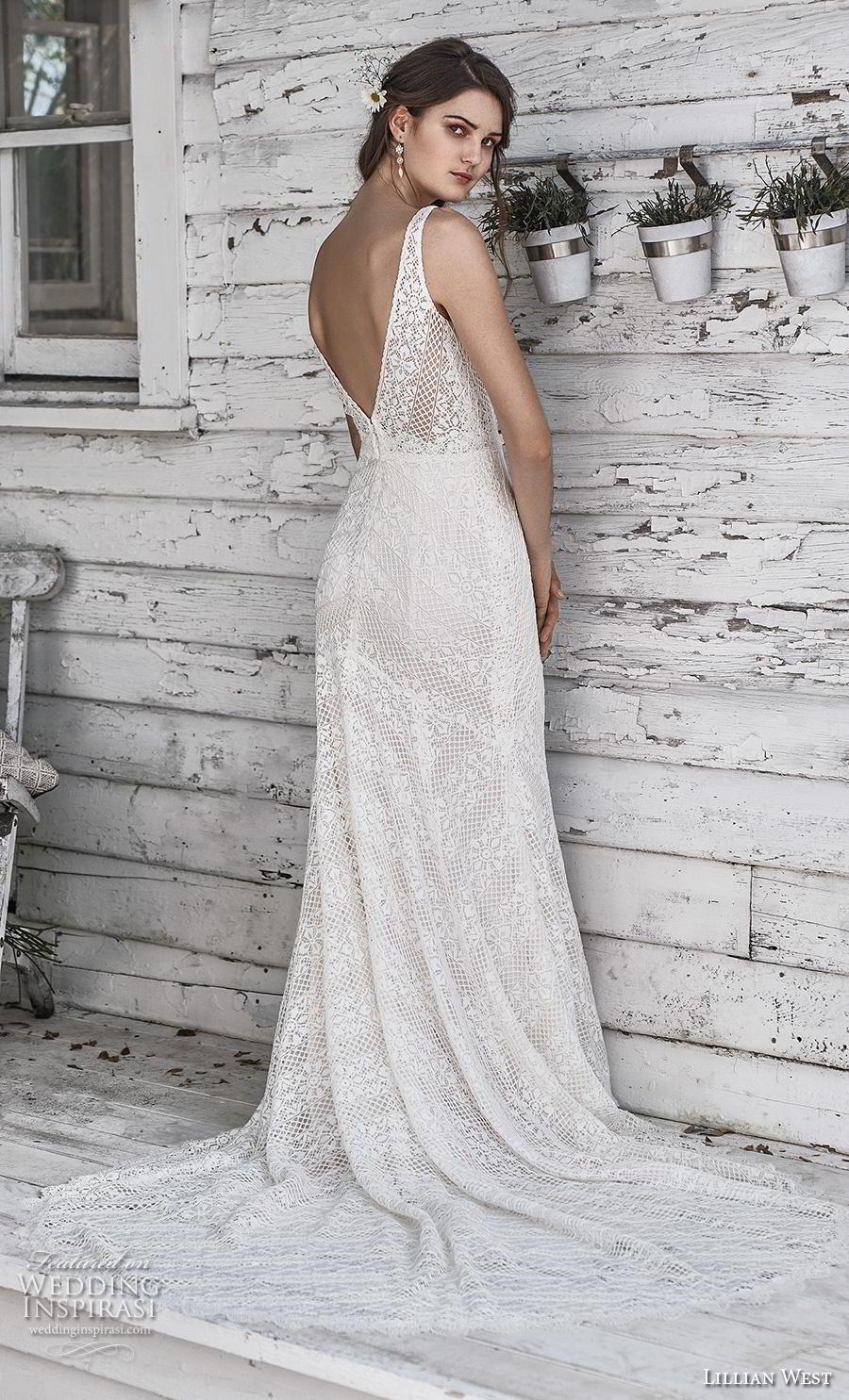 lillian west spring 2019 bridal sleeveless v neck full embellishment elegant fit and flare sheath wedding dress backless v back chapel train (18) bv
