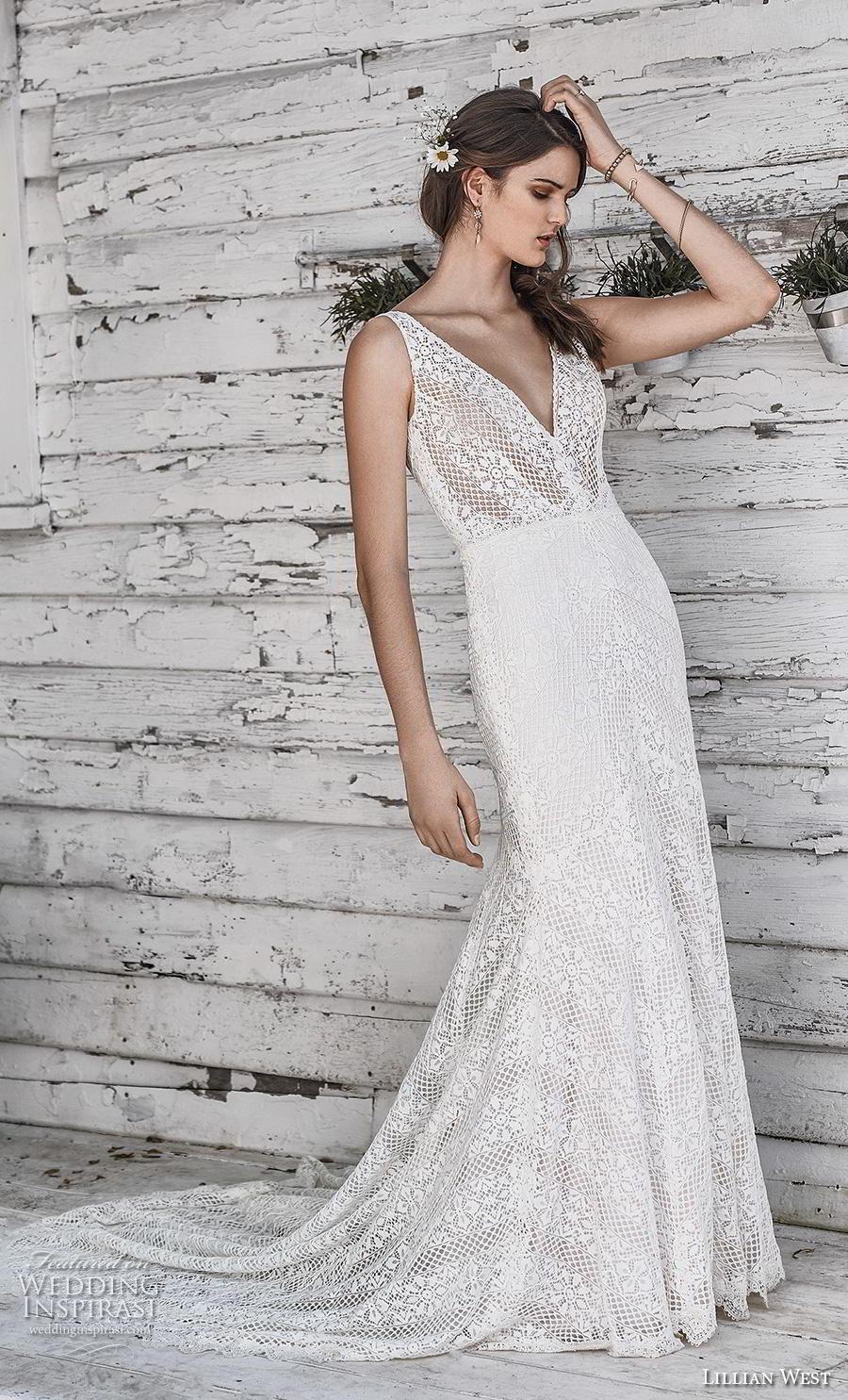 lillian west spring 2019 bridal sleeveless v neck full embellishment elegant fit and flare sheath wedding dress backless v back chapel train (18) mv