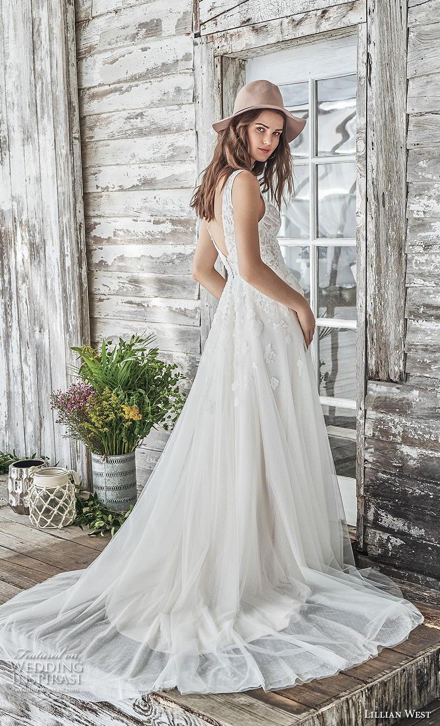 lillian west spring 2019 bridal sleeveless v neck heavily embellished bodice romantic soft a  line wedding dress backless v back chapel train (12) bv