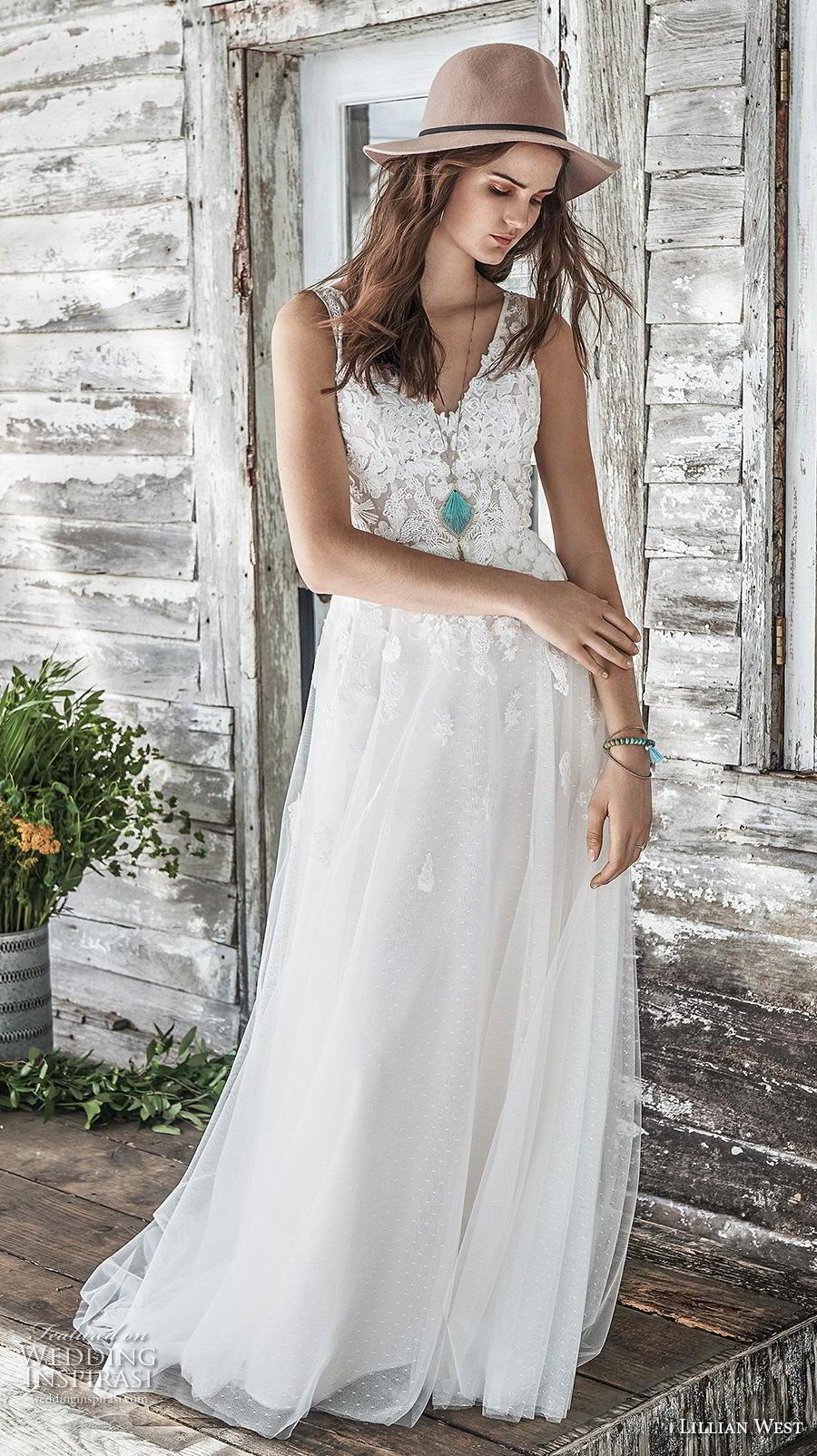 lillian west spring 2019 bridal sleeveless v neck heavily embellished bodice romantic soft a  line wedding dress backless v back chapel train (12) mv