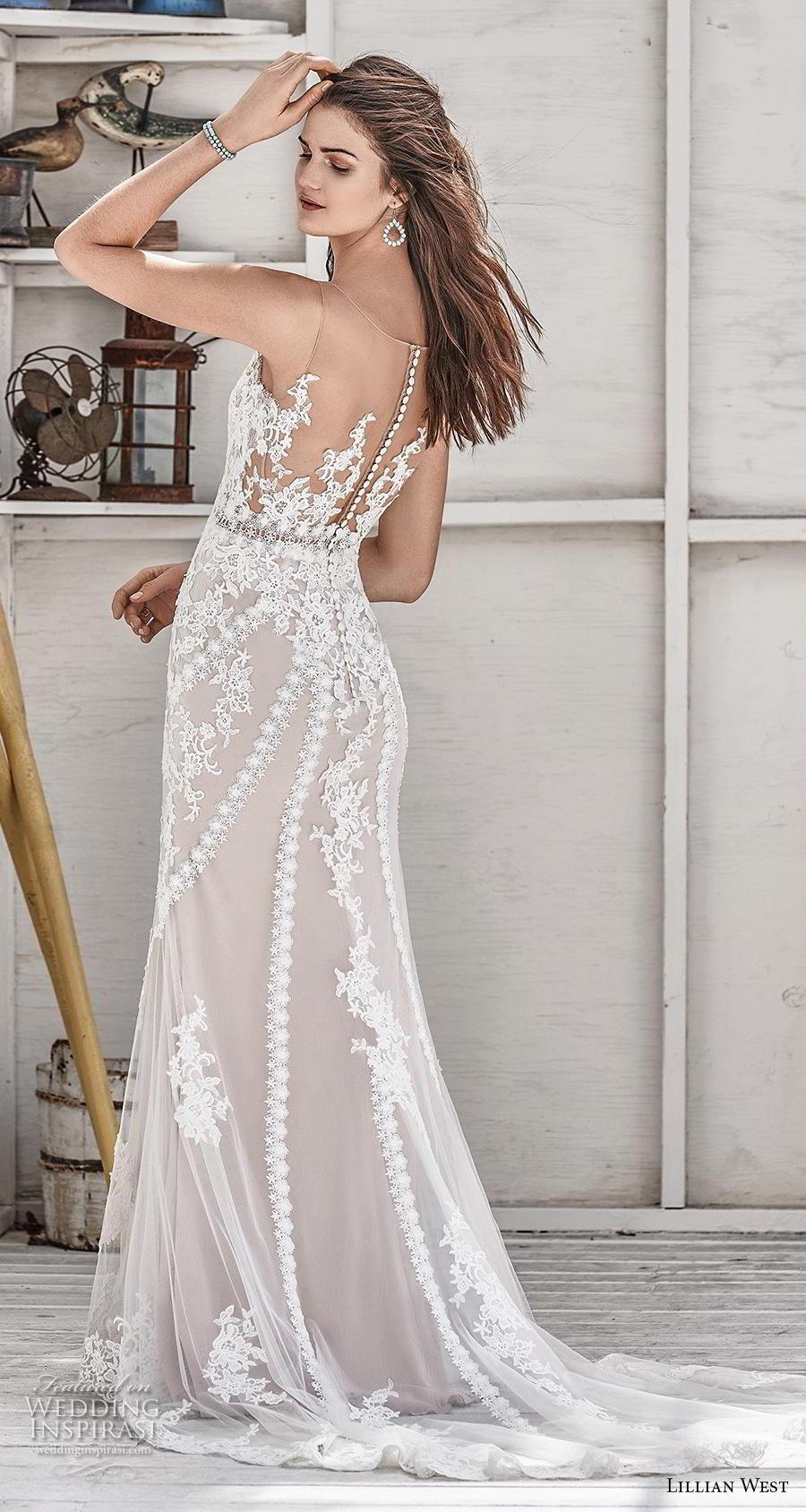 lillian west spring 2019 bridal sleeveless with strap v neck full embellishment elegant blush fit and flare sheath wedding dress sheer button back medium train (4) bv