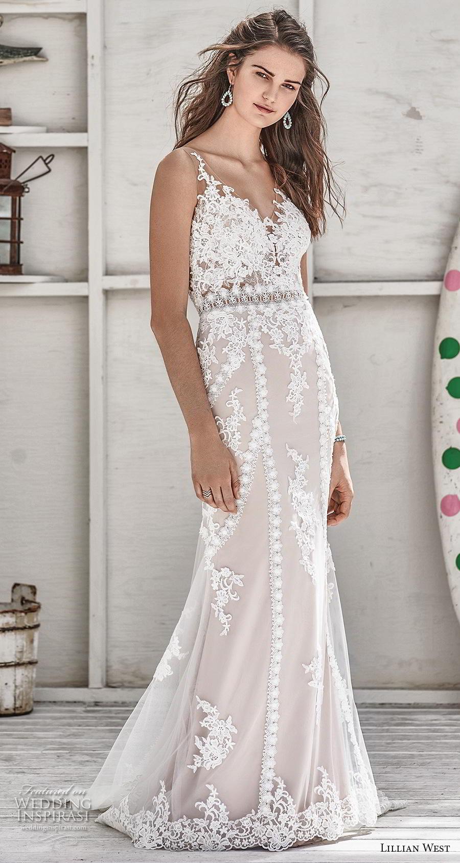 lillian west spring 2019 bridal sleeveless with strap v neck full embellishment elegant blush fit and flare sheath wedding dress sheer button back medium train (4) mv