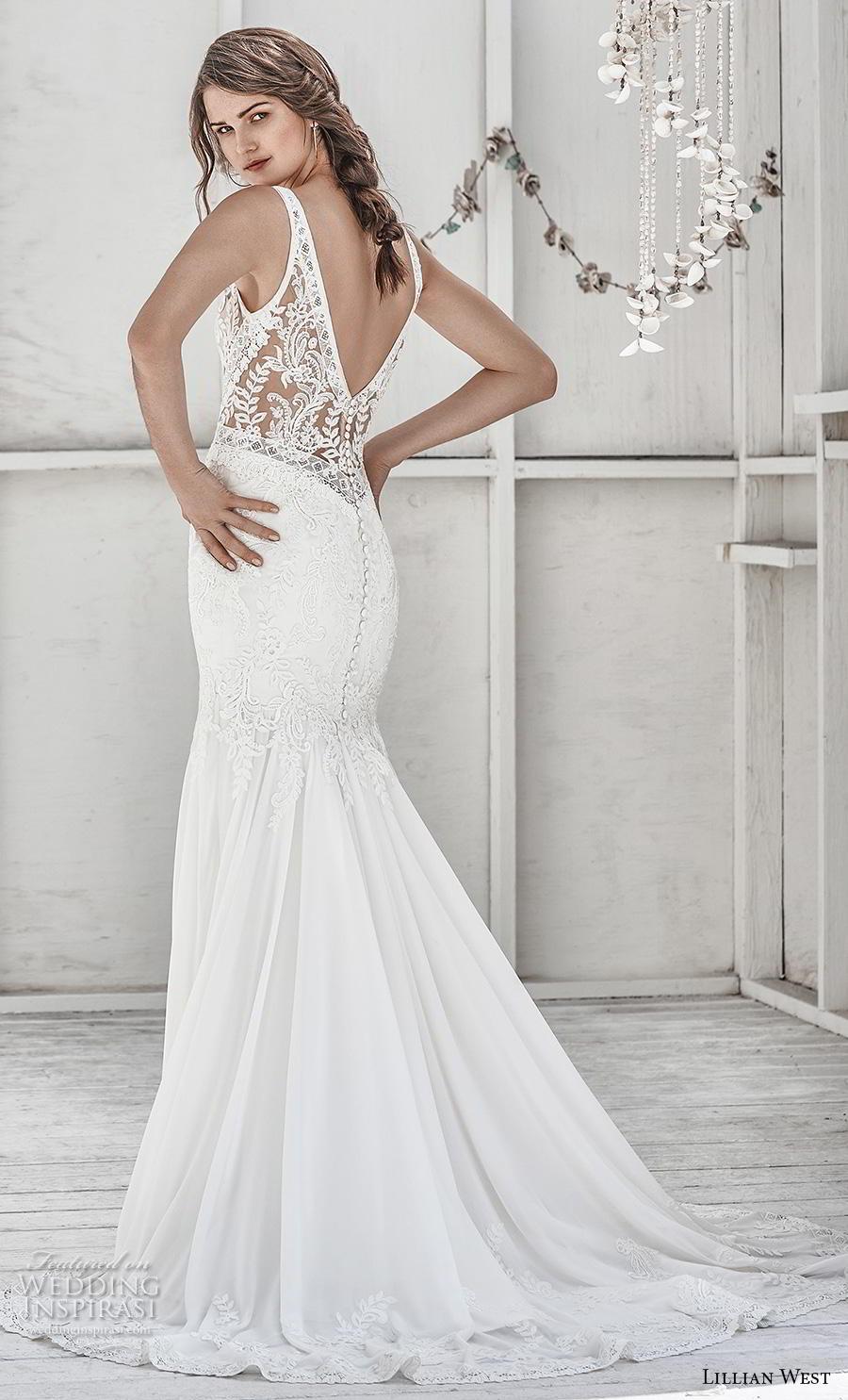 lillian west spring 2019 bridal sleeveless with strap v neck heavily embellished bodice elegant trumpet wedding dress backless v back medium train (3) bv