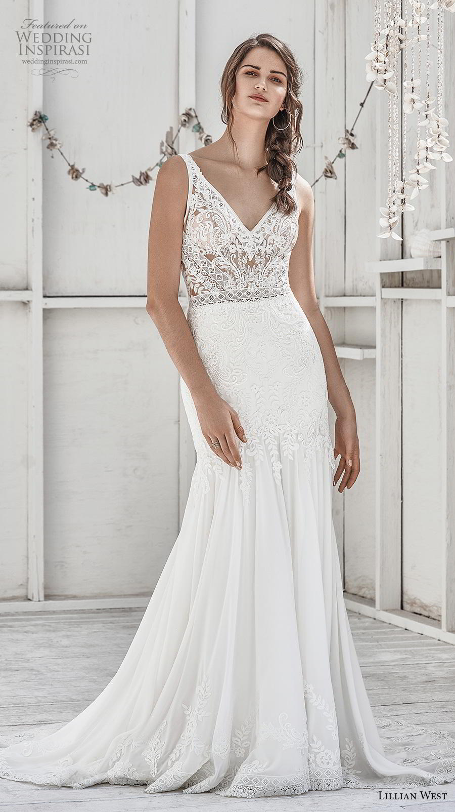 lillian west spring 2019 bridal sleeveless with strap v neck heavily embellished bodice elegant trumpet wedding dress backless v back medium train (3) mv