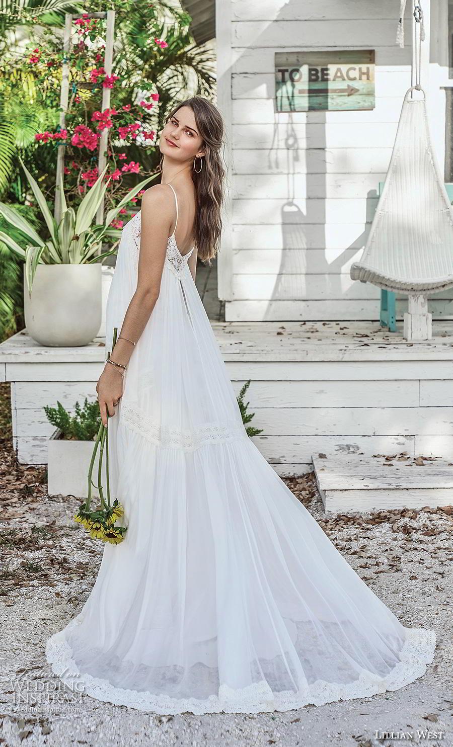 lillian west spring 2019 bridal spaghetti strap diamond neck simple bohemian trapeze tent wedding dress open v back chapel train (13) bv