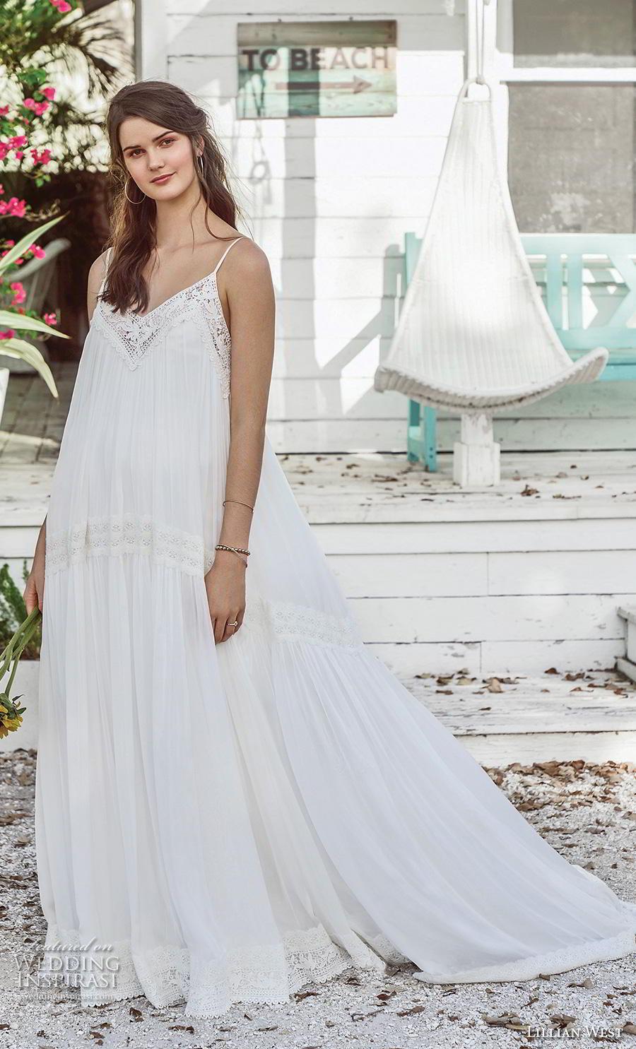 lillian west spring 2019 bridal spaghetti strap diamond neck simple bohemian trapeze tent wedding dress open v back chapel train (13) mv