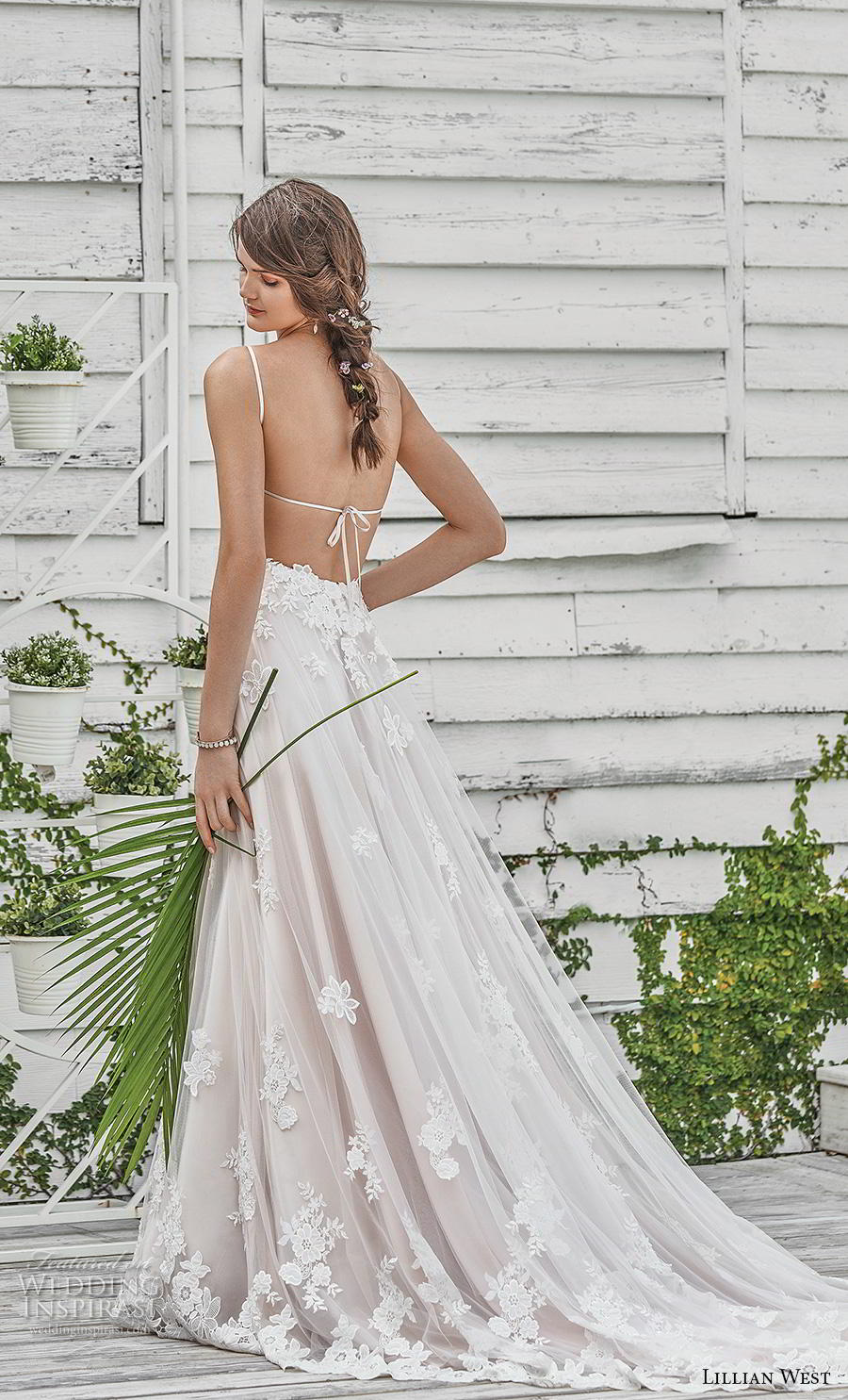 lillian west spring 2019 bridal spaghetti strap sweetheart neckline heavily embellished bodice hem romantic a  line wedding dress backless strap back chapel train (1) bv