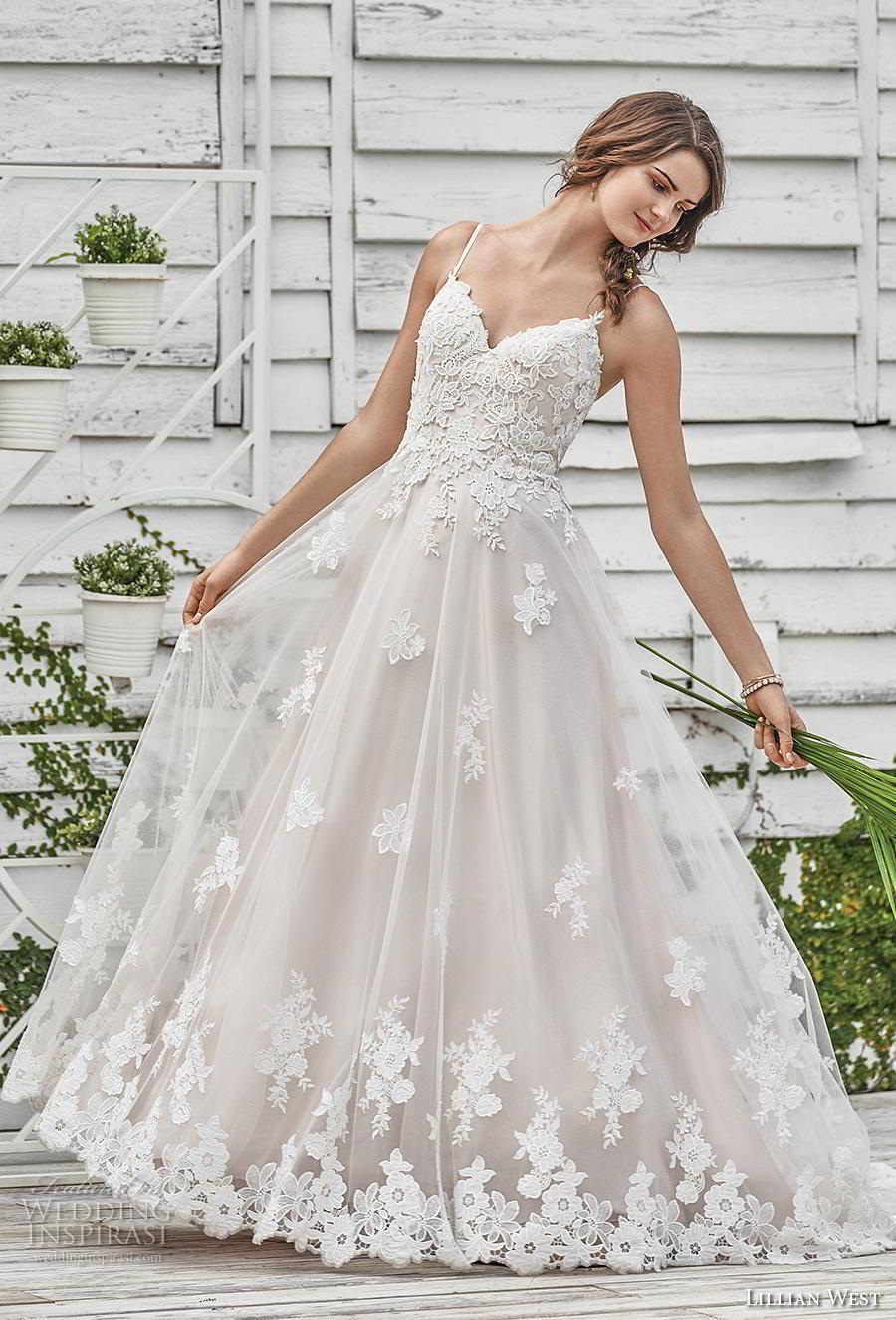 lillian west spring 2019 bridal spaghetti strap sweetheart neckline heavily embellished bodice hem romantic a  line wedding dress backless strap back chapel train (1) mv