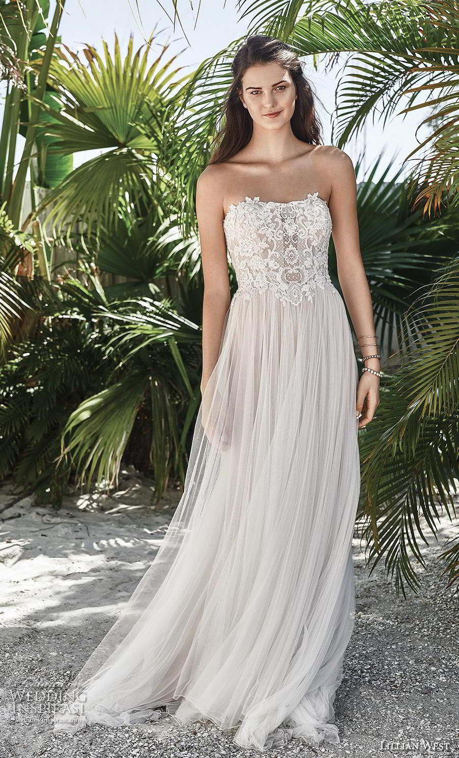 lillian west spring 2019 bridal strapless semi sweetheart neckline heavily embellished bodice tulle skirt romantic soft a  line wedding dress mid back short train (10) mv