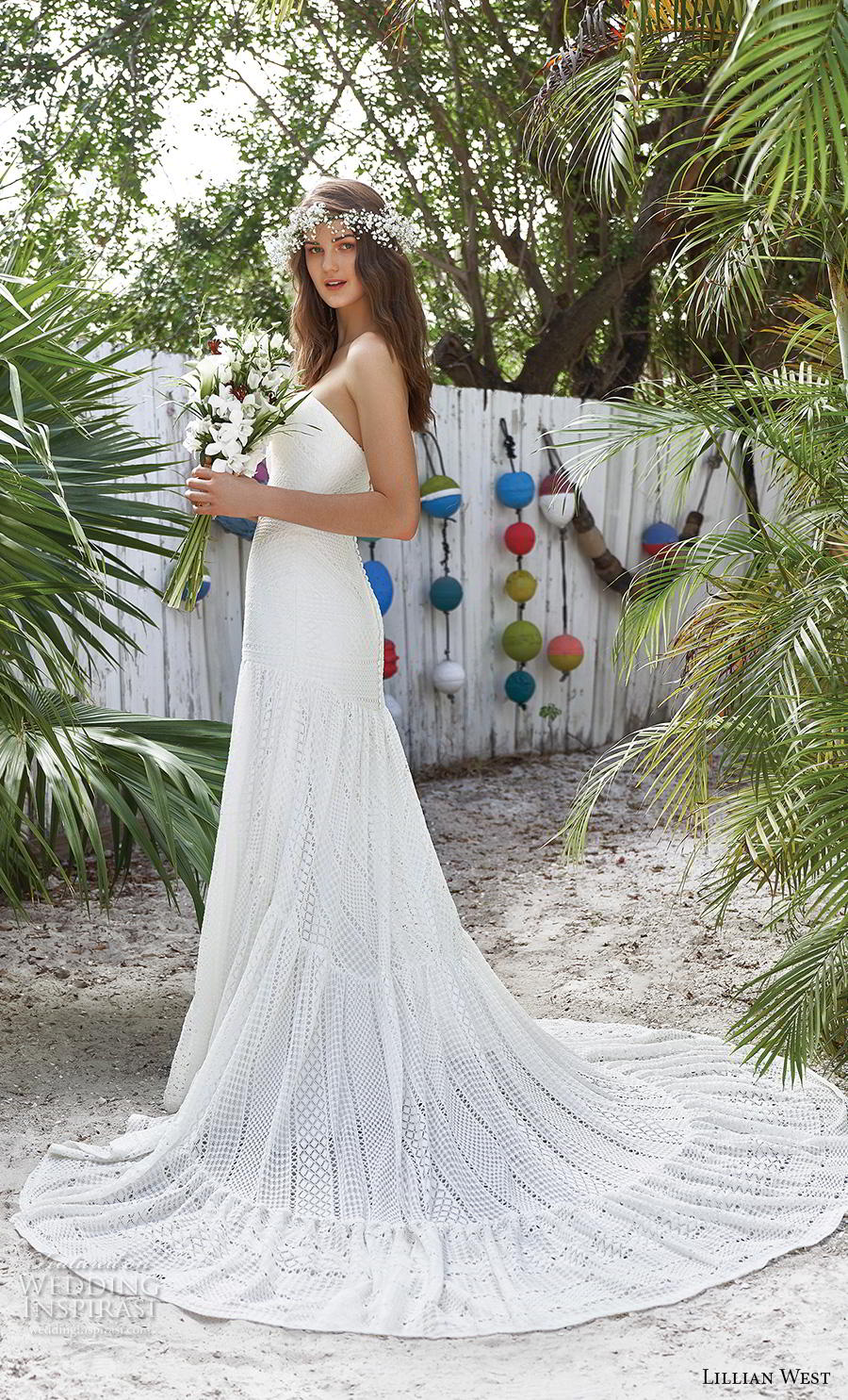 lillian west spring 2019 bridal strapless sweetheart neckline full embellishment boho romantic a  line wedding dress chapel train (2) bv