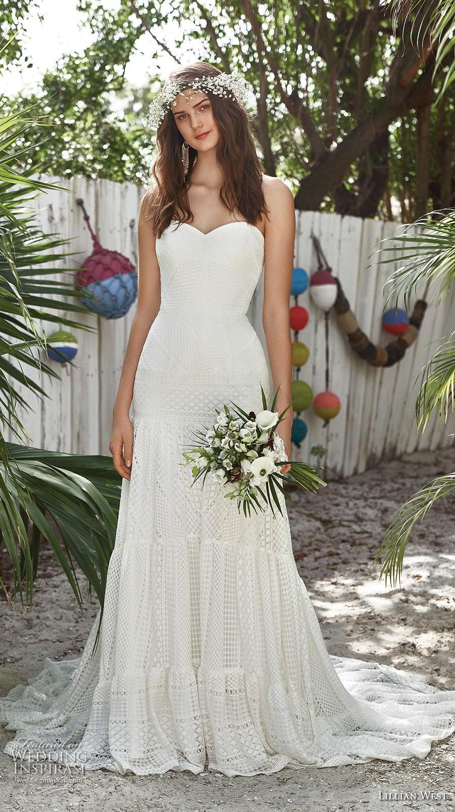 lillian west spring 2019 bridal strapless sweetheart neckline full embellishment boho romantic a  line wedding dress chapel train (2) mv
