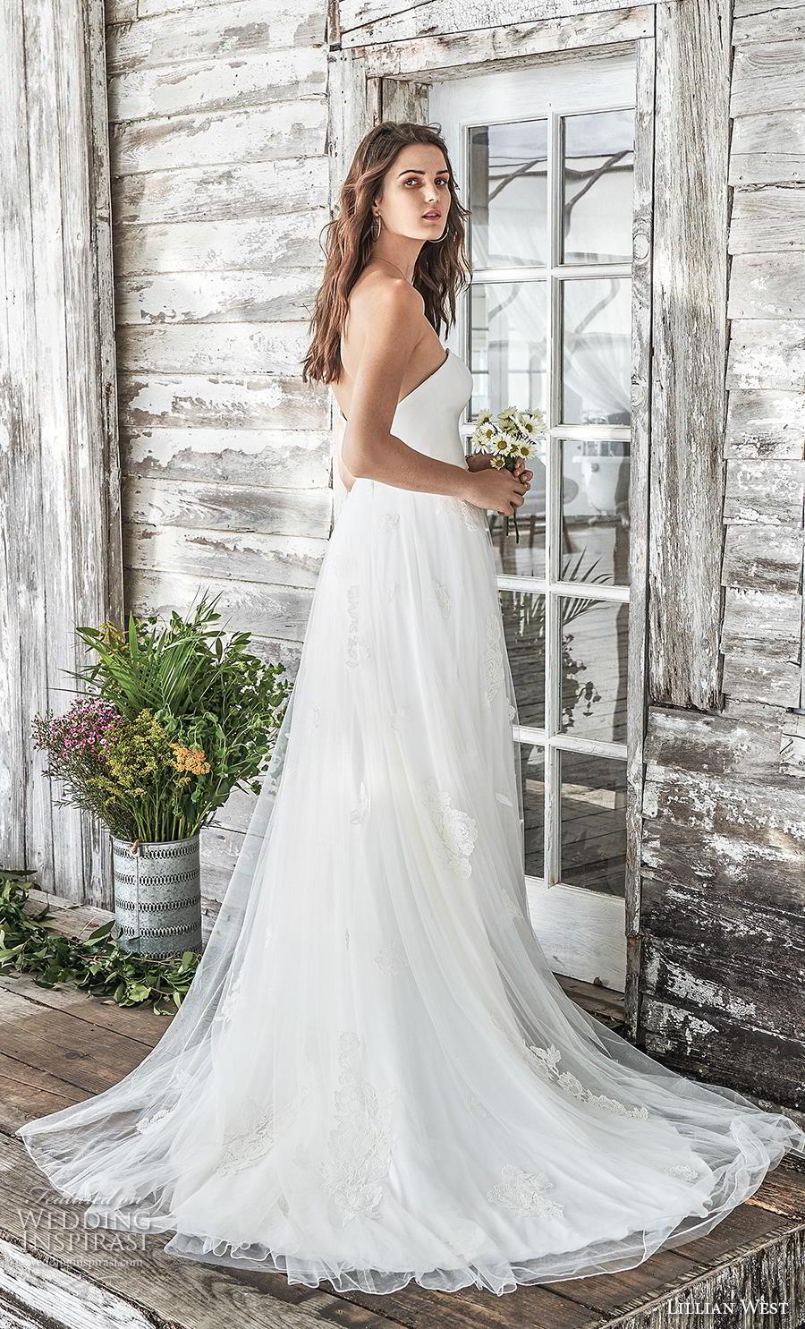 lillian west spring 2019 bridal strapless sweetheart neckline tulle skirt simple classic romantic a  line wedding dress mid back chapel train (9) bv