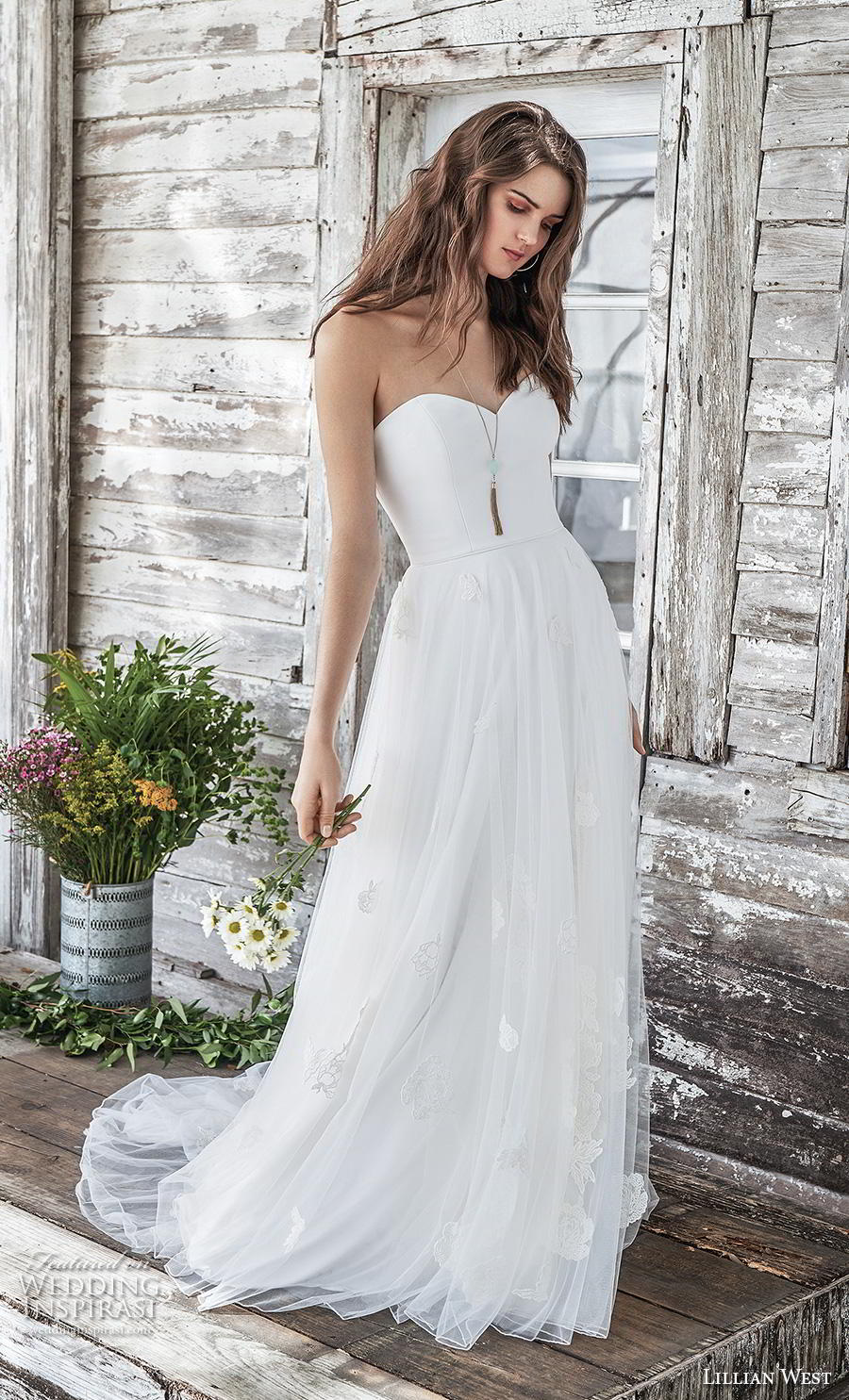 lillian west spring 2019 bridal strapless sweetheart neckline tulle skirt simple classic romantic a  line wedding dress mid back chapel train (9) mv