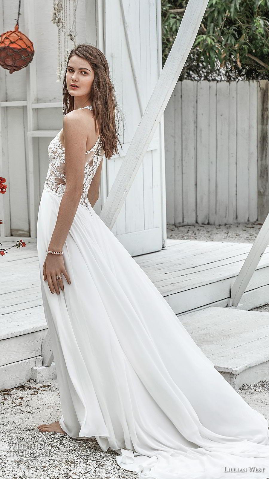 lillian west spring 2019 bridal thin strap sweetheart neckline heavily embellished bodice boho romantic soft a  line wedding dress rasor lace back chapel train (11) bv