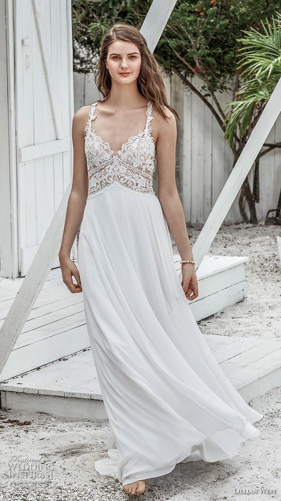 lillian west spring 2019 bridal thin strap sweetheart neckline heavily embellished bodice boho romantic soft a  line wedding dress rasor lace back chapel train (11) mv