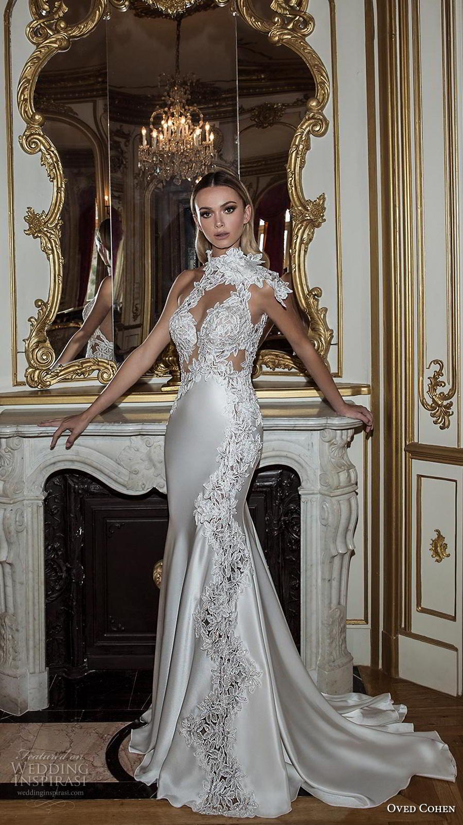 oved cohen 2018 bridal asymmetrical high neck keyhole sweetheart neck heavily embellished bodice glamorous elegant fit and flare wedding dress medium train (8) mv
